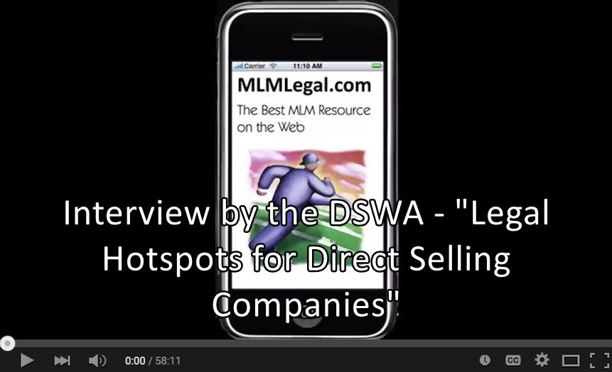 "Executive Interview by the DWSA - ""Legal Hotspots for Direct Selling Companies"" with Jeff Babener"